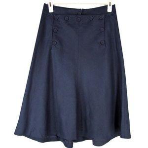 J. Crew Sailor Linen Navy Skirt